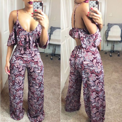 New Arrival Ladies Summer Flora   Jumpsuit   Off Shoulder Summer Deep V Neck Womens Sleeveless Wide Leg   Jumpsuit   Playsuit Clothes