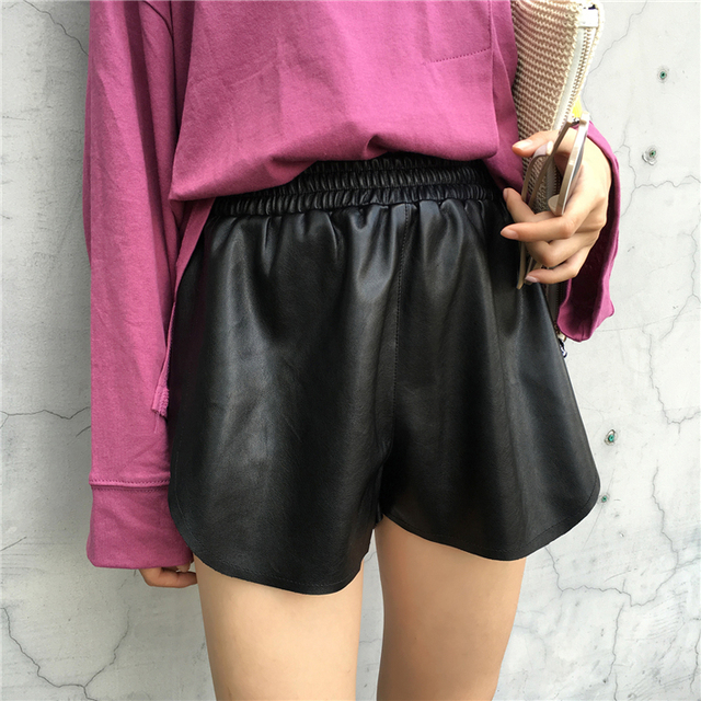 8c7fa8c78e8ec Summer Wide Leg Shorts Korean Ulzzang Harajuku Chic PU Leather Fitness  Shorts Women High Waisted Black