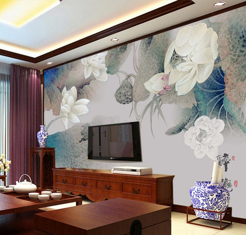 custom retro wallpaper elegant lotus large murals papel de parede hotel living room tv sofa wall. Black Bedroom Furniture Sets. Home Design Ideas