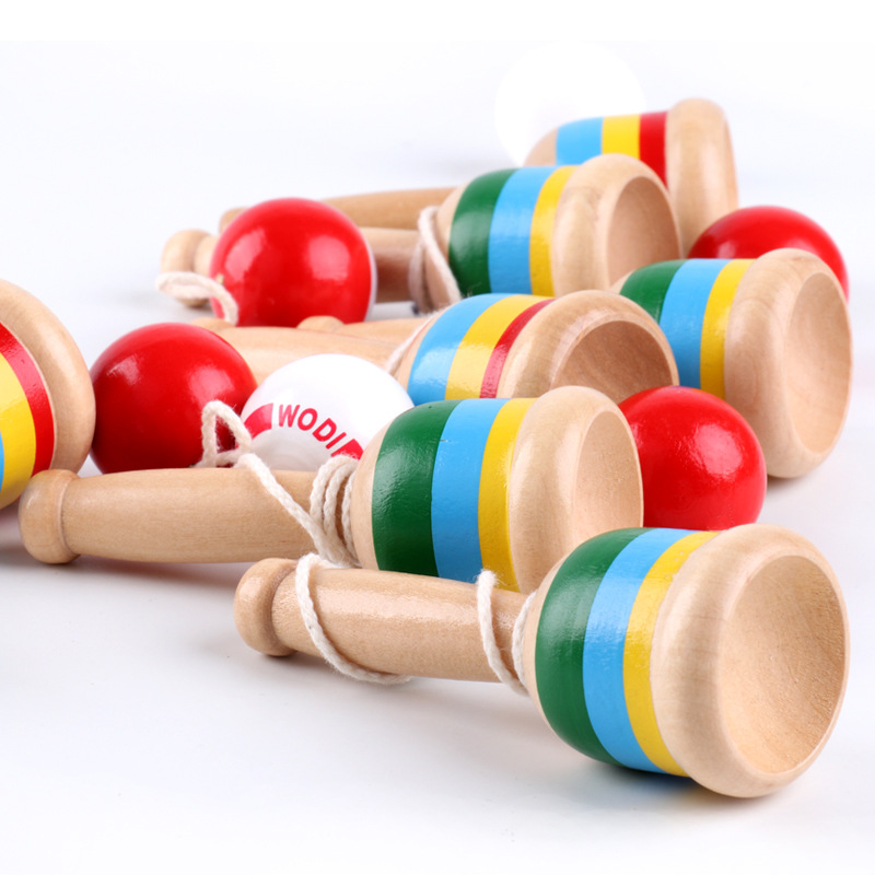 Funny kids Fitness Leisure Wood Educational Toys Sword Ball Exercise Hand Skills
