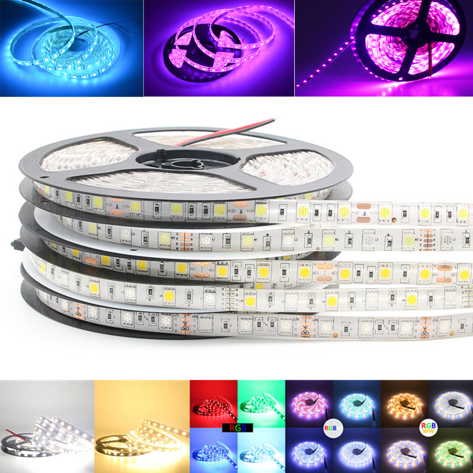 12 v Waterproof 5050 SMD LED Strip light 5M 12V LEDStrip tape lamp RGB RGBW RGBWW Yellow Pink Ice Blue Diode Ribbon Fleible bear leader girls skirt sets 2018 new autumn