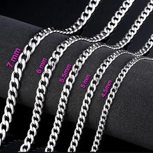 3 5 6mm Wide Silver Filled Solid Necklace Curb Chains Link Men Choker Stainless Steel Chain Male Female Fashion 2019 Jewelry(China)
