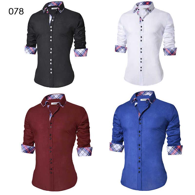 2018 Desain Kemeja Casual Pria Lengan Panjang Slim Fit Katun Kemeja Pria Hitam Kantor Formal Pria Kemeja ukuran 5XL