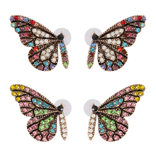 2019 New Arrival Stud Earring Animal Colorful  High Quality Crystal Exquesite Zircon 1Pair Buterfly Wing earings