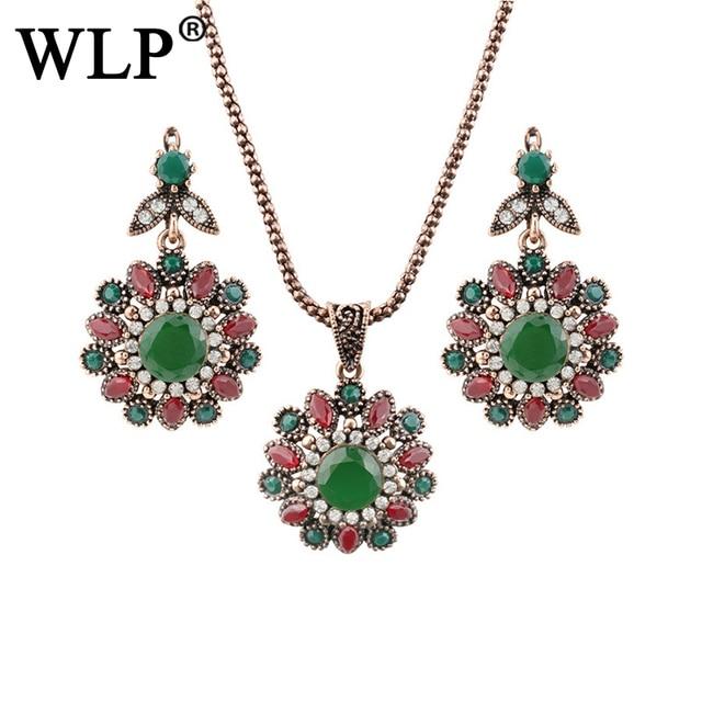 Wlp Spring 2018 Stylish Vintage Jewelry Sets Green Opal Earrings Necklace Set Parure Bijoux Femme Dress
