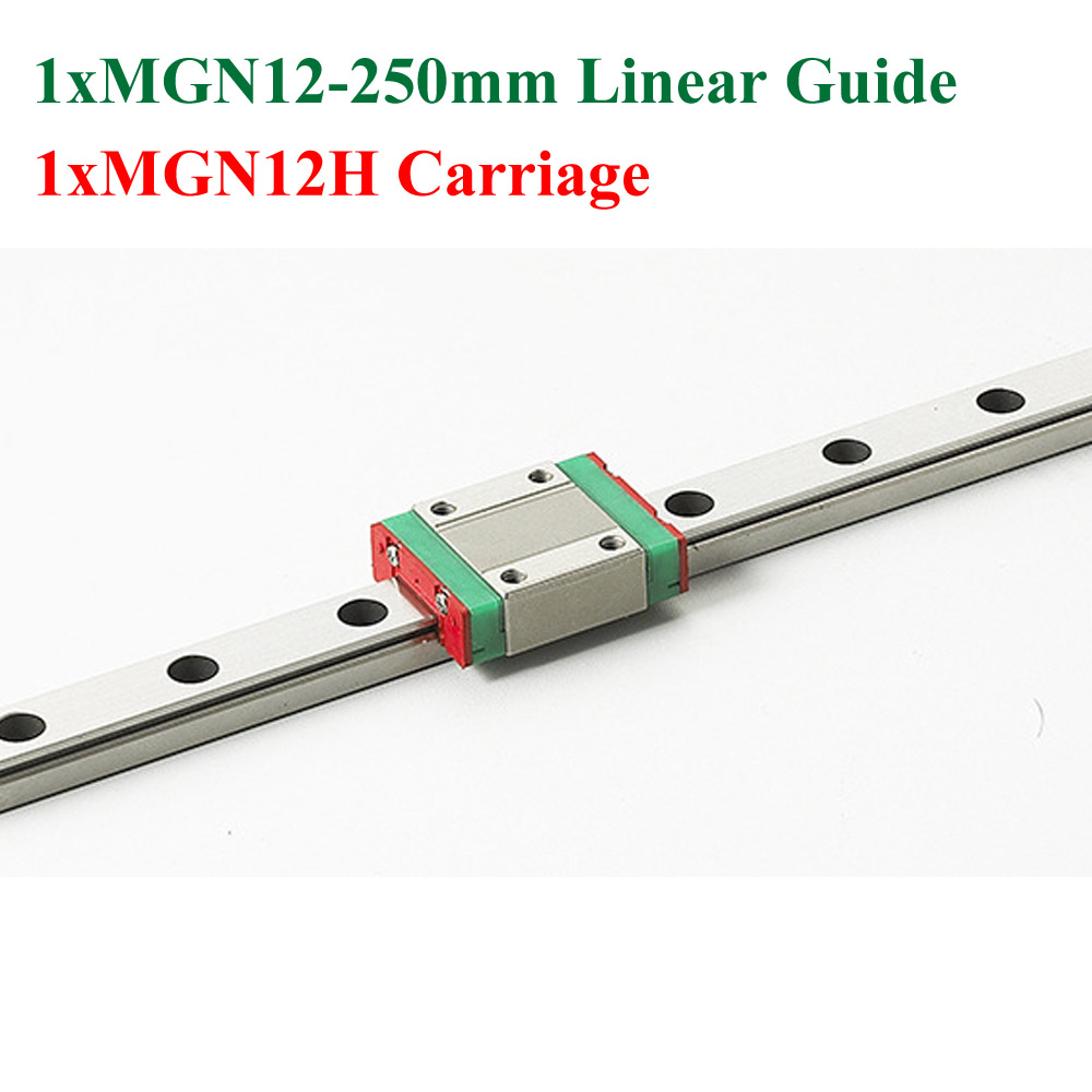 MR12 12mm MGN12 Mini Linear Guide 250mm 3D Printer Kossel With MGN12H Linear Block Carriage For Cnc axk mr12 miniature linear guide mgn12 long 400mm with a mgn12h length block for cnc parts free shipping