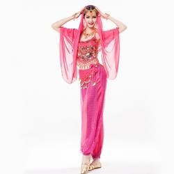 Для женщин индийская одежда 4 частей костюм комплект головной убор со стразами, короткий топ, Монета Пояс и брюки шифона Болливуд