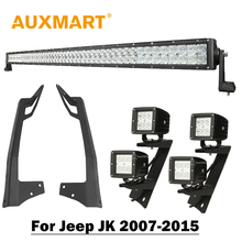 "Para Jeep Wrangler JK 50 ""5D 480 W Offroad LED Light Bar CREE Chips Combo Led Bar 4×3"" 18 W Led Luces de trabajo Del Punto/Inundación + Soportes"