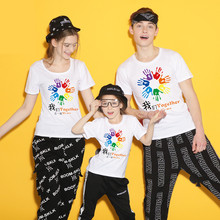 New 2019 Cotton Family Matching T Shirt Summer Short Sleeves Clothes Fashion Outfit Set Tees Tops