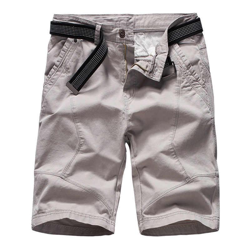 Moda 2019 pantalones cortos de carga de verano de marca para hombre ejército pantalones cortos tácticos informales sueltos de algodón pantalones cortos sin cinturón para hombre