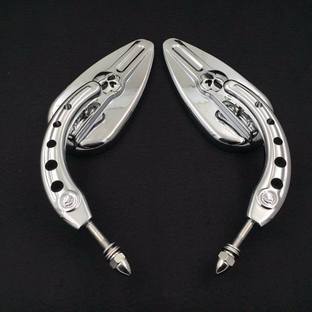 Afetermarket free shipping motorcycle mirror Motorcycle Chrome Skull Side Mirrors For 1984 and up Harley Davidson Dyna Street Bo black chrome custom motorcycle skeleton bone mirrors for harley davidson street glide