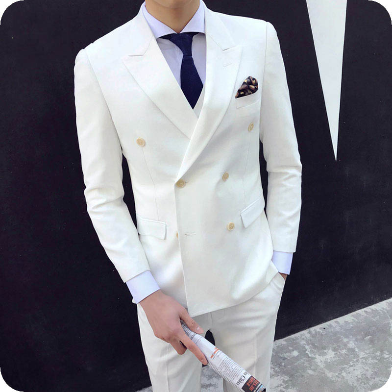 Men Suit fo r wedding business double breasted peaked lapel (1