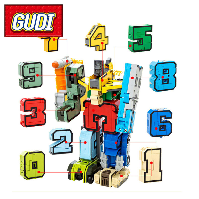 2017 GUDI 15pcs Creative Assembling Educational Action Figures Transformer Number Robot Deform Plane Car Birthday Kids gift Toys lps pet shop toys rare black little cat blue eyes animal models patrulla canina action figures kids toys gift cat free shipping