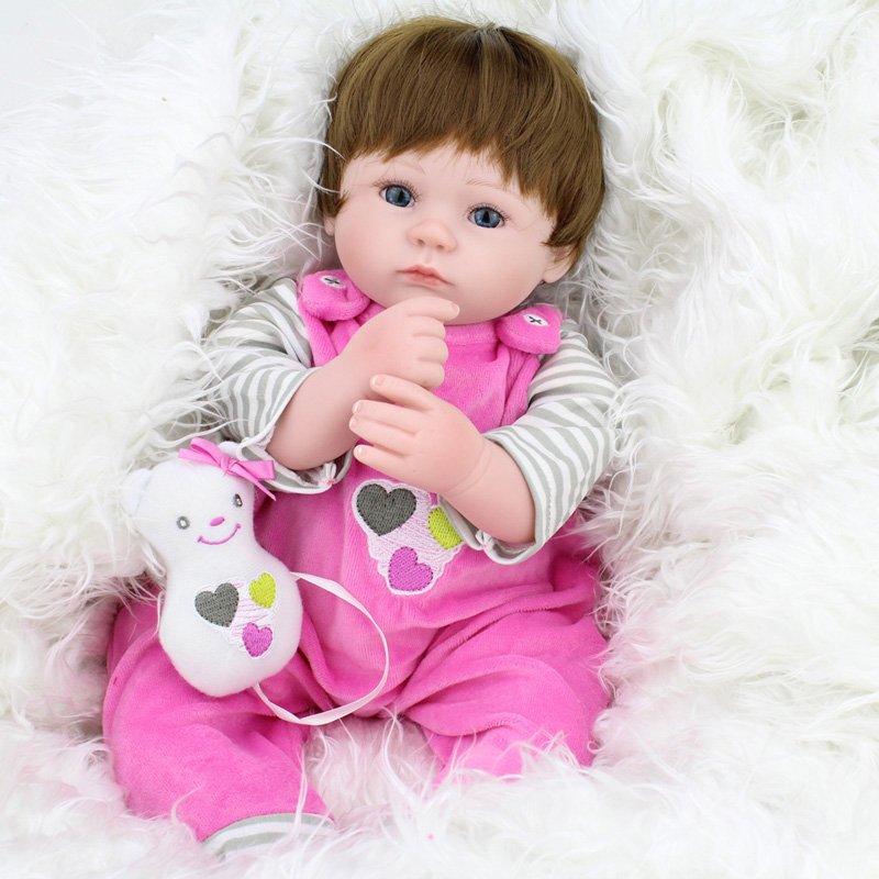 ФОТО 16Inches 40cm 2016 New Silicone Reborn Baby Dolls Kawaii Kids Toys Girls Reborn Babies Brown Hair Wig Gift Dolls Brinquedos