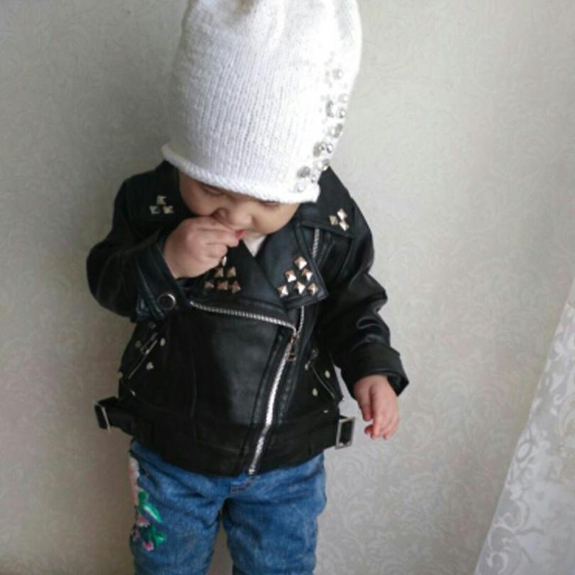 Kids Boys Girls Lapel Plus Velvet Motorcycle Jacket Biker Leather Coat Overcoat
