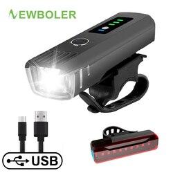 NEWBOLER חכם אינדוקציה אופניים מול אור סט USB נטענת אחורי אור LED פנס אופני מנורת רכיבה על אופניים פנס לאופניים