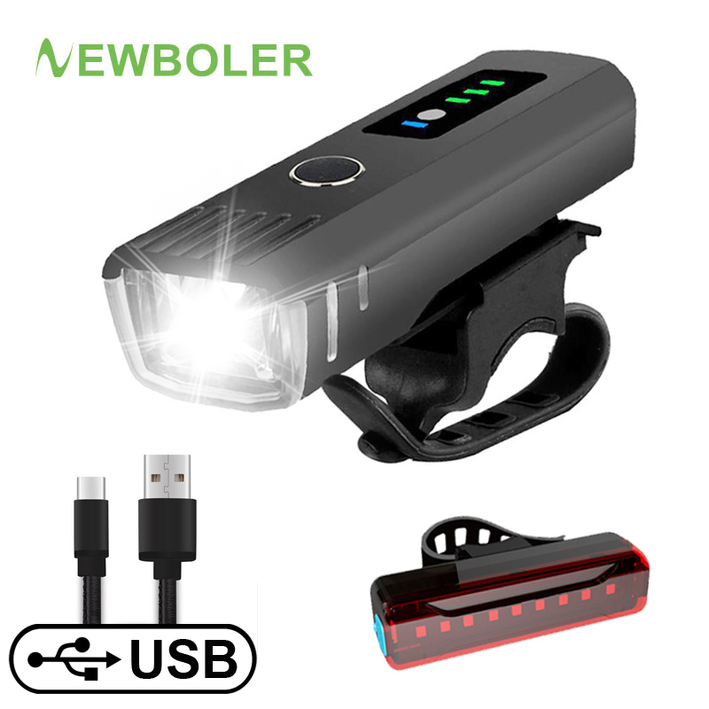 NEWBOLER Bike-Lamp Cycling-Flashlight Bicycle Front-Light-Set Smart-Induction Rechargeable title=