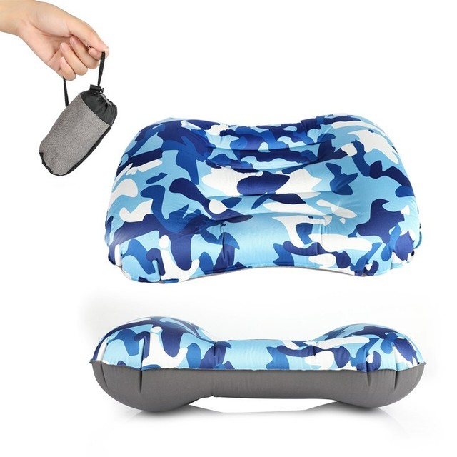 Outdoor Travel AirหมอนBeach InflatableเบาะรถRestเดินป่าInflatableแบบพกพาพับคู่ด้าน