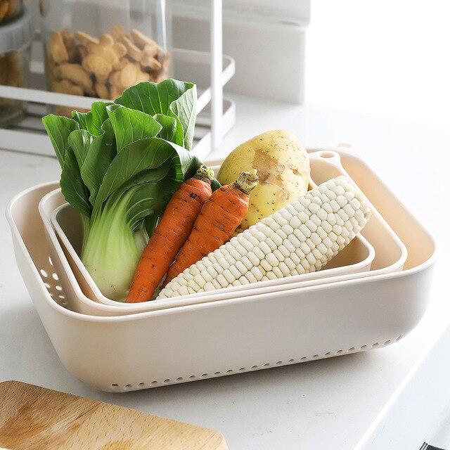 Fruit Vegetable Washing Basket Kitchen Household Rectangular PP Plastic Wash Basket Drain Basket Filter Vegetable 3 Pieces/set