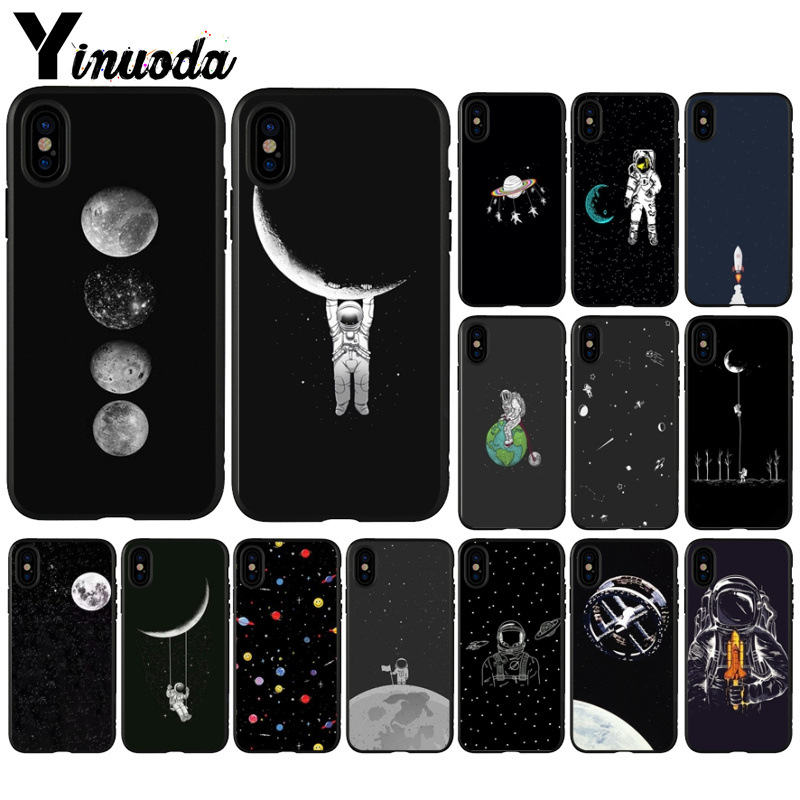 Half-wrapped Case Maiyaca Black With White Moon Stars Space Astronaut Smart Phone Case For Iphone 8 7 6 6s Plus X Xs Max 5 5s Se Xr Xr Xs Max Phone Bags & Cases