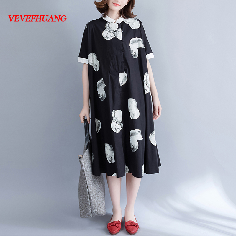 4XL 5XL 6XL Plus Size Women Clothing 2017 Bohemian Retro Polka Dot Casual Shirt Dress Big Bottom-Hem Summer Long Dress