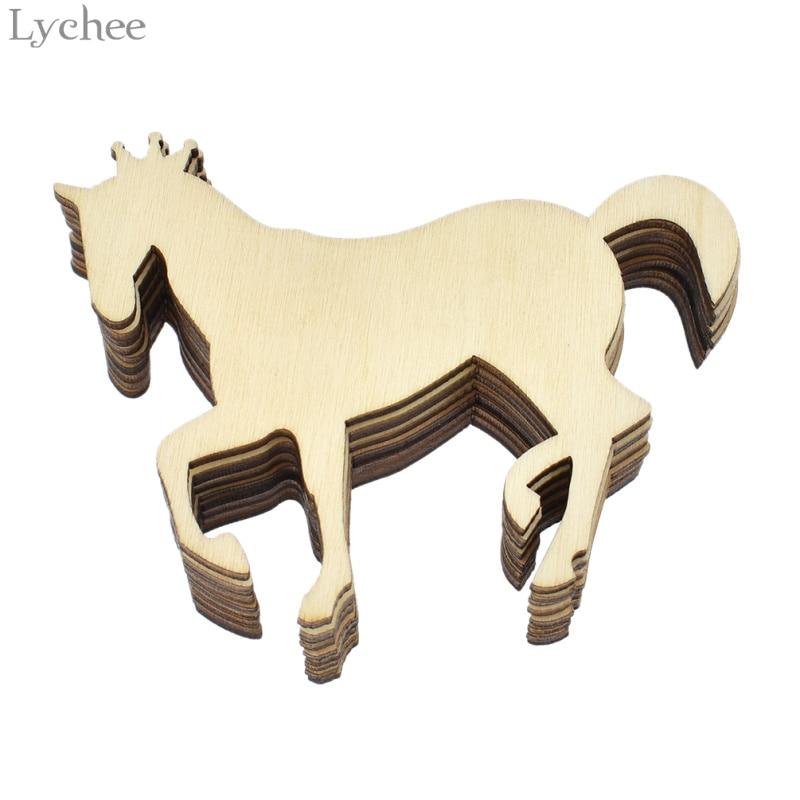 Lychee 10pcs DIY Wooden Unicorn Embellishments Art Decor Scrapbooking DIY Crafts Christmas Party Decoration
