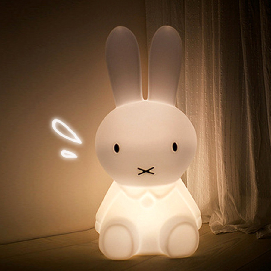 BEIAIDI 50CM Rabbit Bedside LED Table Light With Dimmable Switch Animal Cartoon Bedroom Decorative Light Baby Children Kids Gift beiaidi 50cm cute rabbit led night light cartoon animal bedroom desk table lamp baby kids children sleeping light best christmas