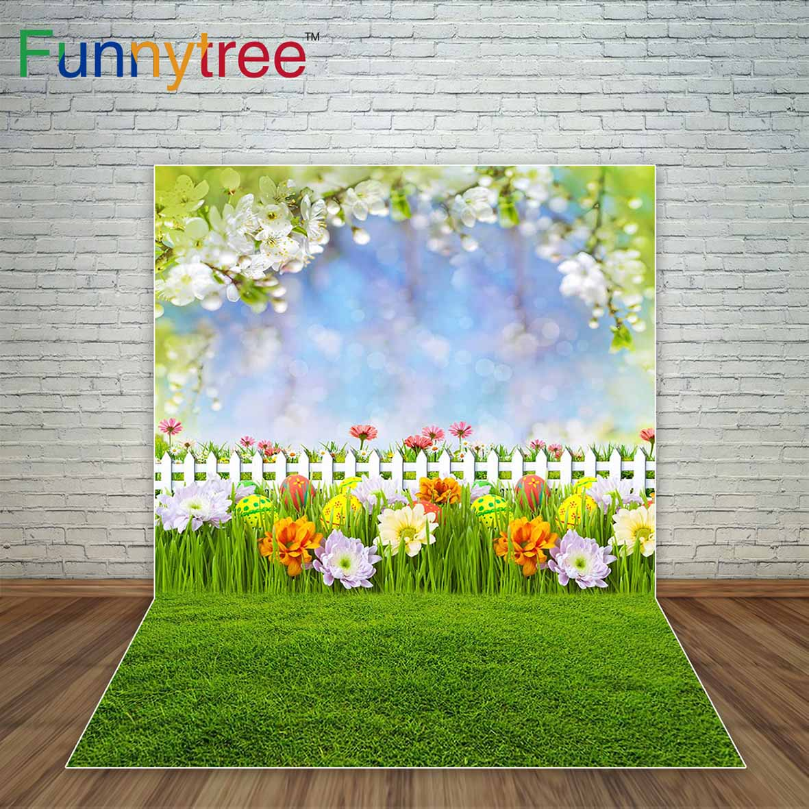 Spring Easter Backdrop Bokeh Shiny Dots Flowers Meadow Childrens