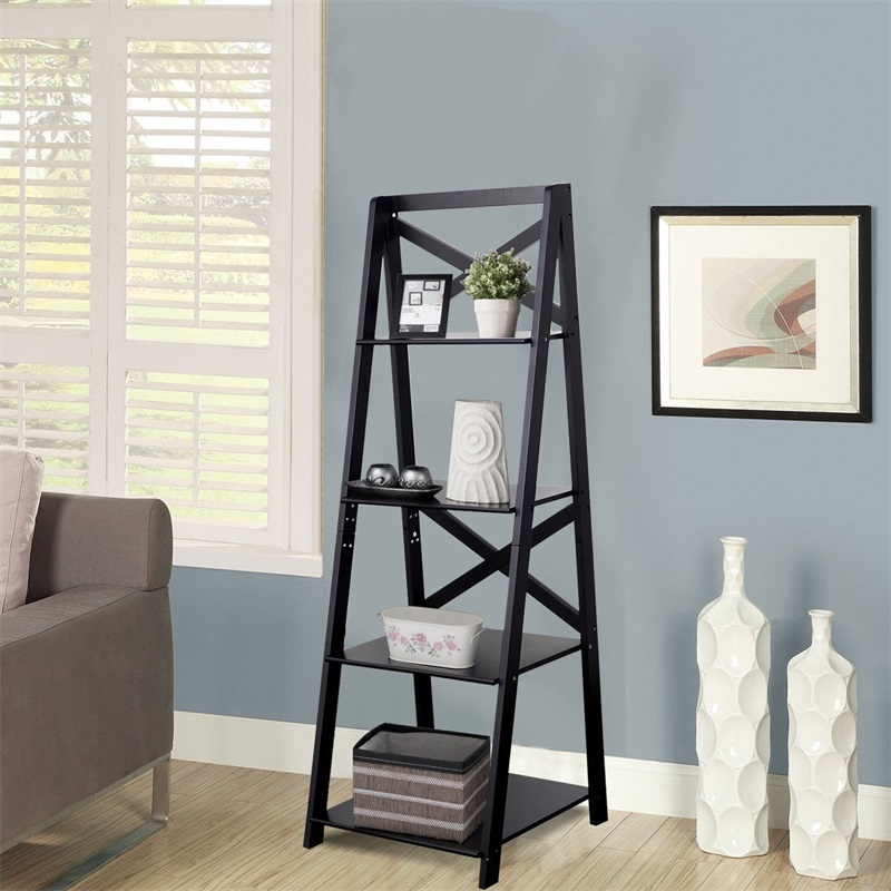 4-Tier Ladder Space-saving Bookshelf High Quality MDF Magazine Storage Shelf Big Capacity Plants Stand Space-saving design
