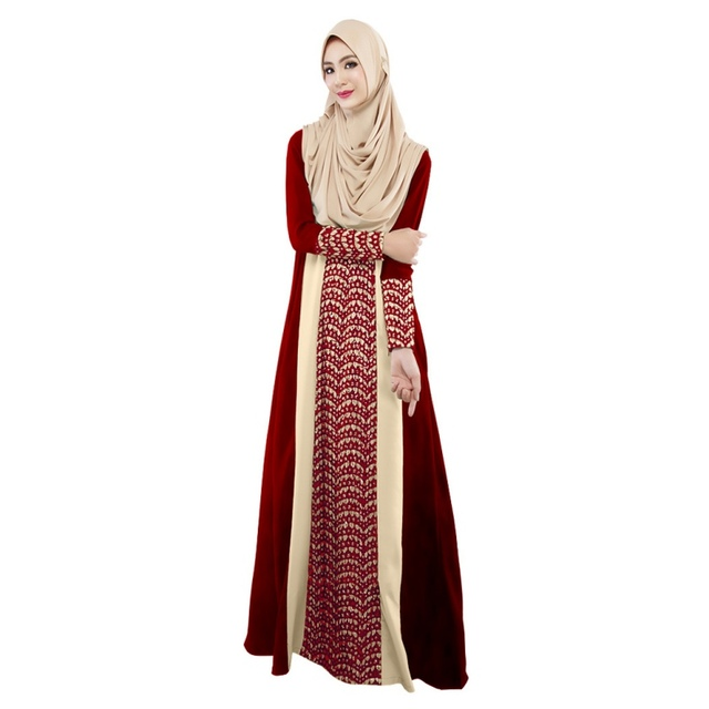 ad131b92c654 Musulman Femmes manches Longues Dubaï dentelle Robe maxi abaya jalabiya  islamique femmes robe vêtements Marocaine de