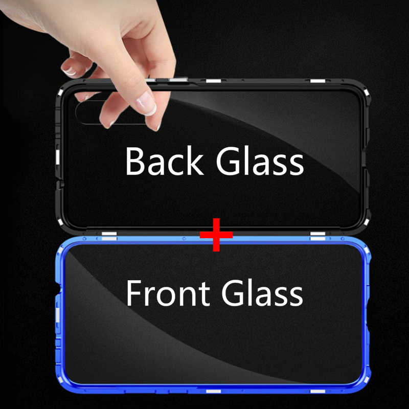 Mzxtby Metal Magnetic Adsorption Case For Xiaomi 9 9T Mi9se Redmi Note7 K20 pro Case Double Sided Glass Magnet Case Cover Funda