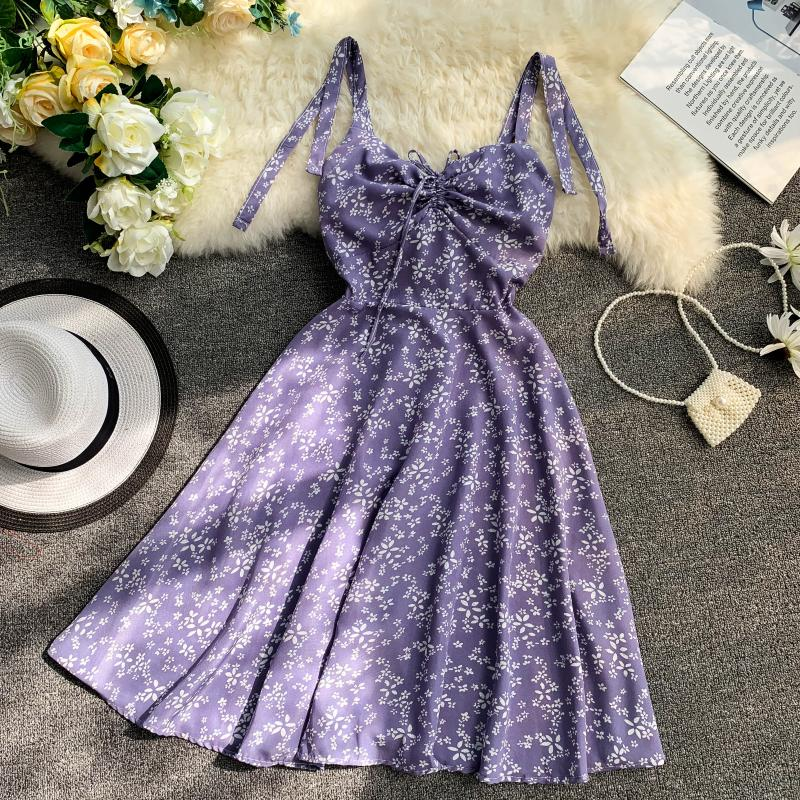 Holiday 2019 New Flower Print V-collar Drawstring High Waist Slim A-line Beach Dress Women Vestidos 8