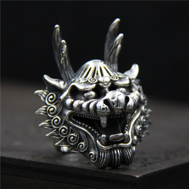 C&R 925 Sterling Silver Rings for men Fine Carved retro Dragon Head ring men Thai Silver ...