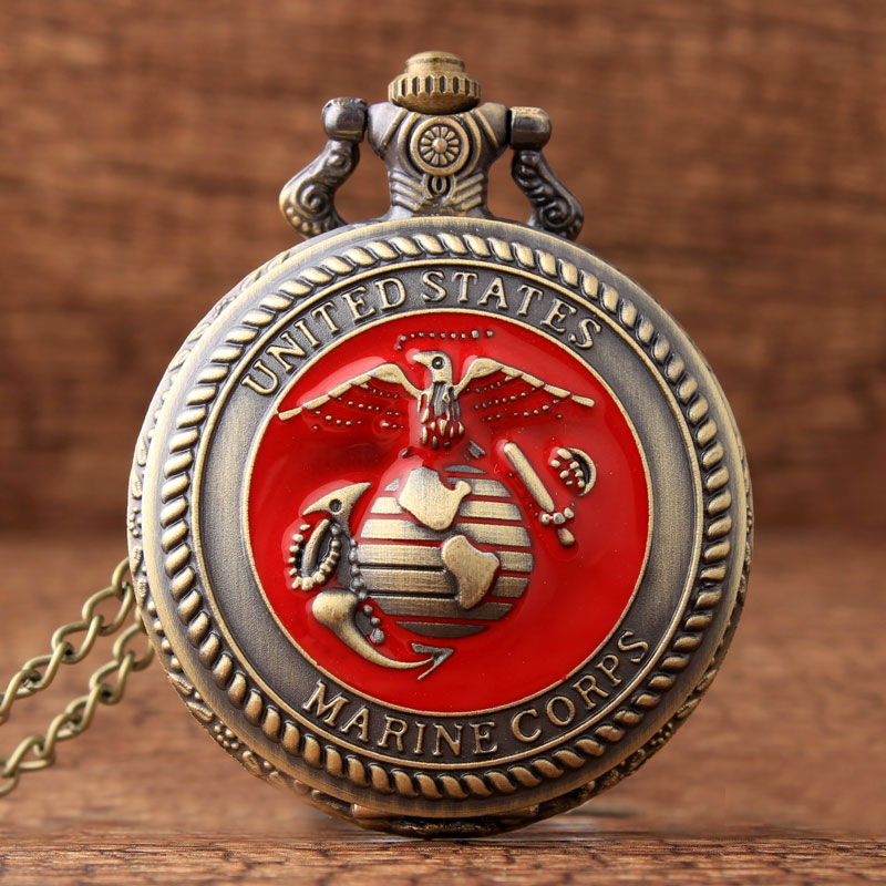2017 Moda Vintage Estados Unidos Cuerpo de Marines Cuarzo Reloj de Bolsillo Colgante Collar Cadena Hombres Regalos Reloj De Bolsillo