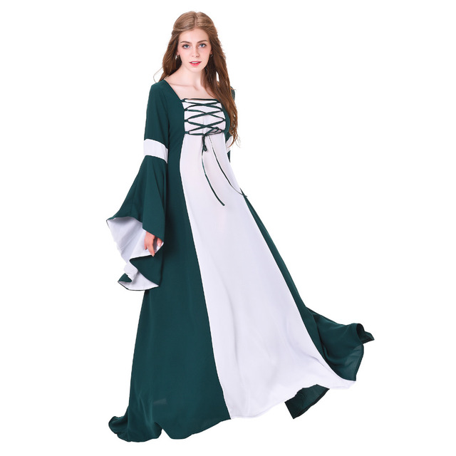 872afa56cce Médiévale Costume Adulte Medieval Renaissance Robe De Mariage Robe Vert  Blanc Linge Médiévale Cosplay Costume Halloween