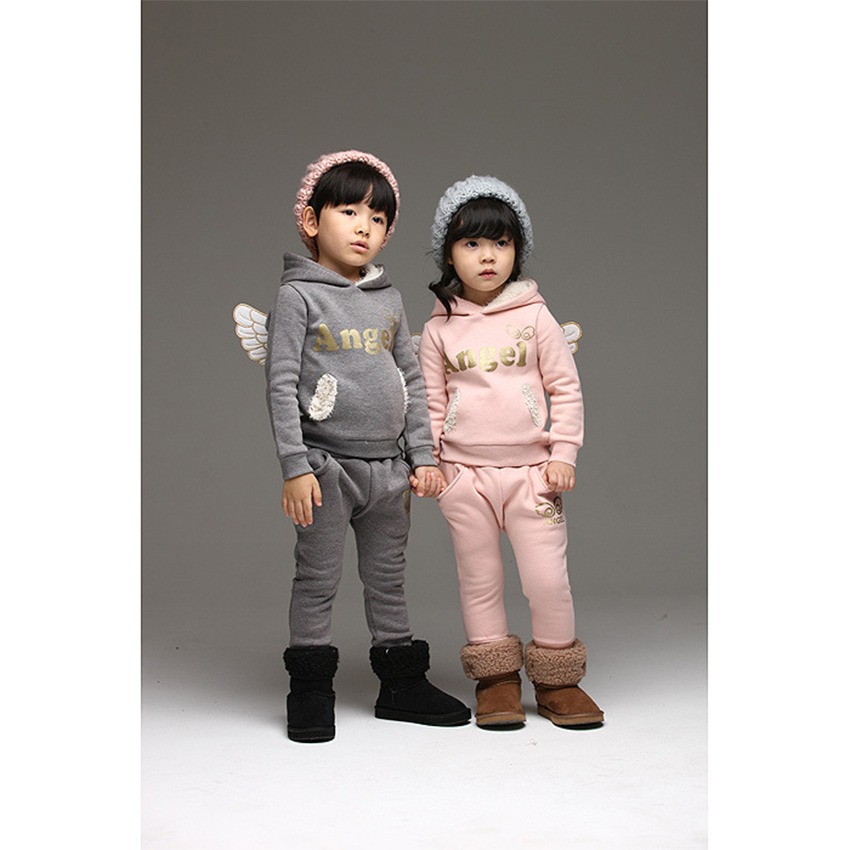Angle Wings Children Clothing Set Autumn Hooded Sports Suit For Boys Girls Winter Warm Plush Sets Pink Grey Children Clothing 2015 new autumn winter warm boys girls suit children s sets baby boys hooded clothing set girl kids sets sweatshirts and pant