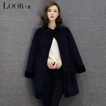 2016 new fur coat long dress real fur wool coat winter Thick With big Raccoon Fur Collar High quality women Lamb Fur coats