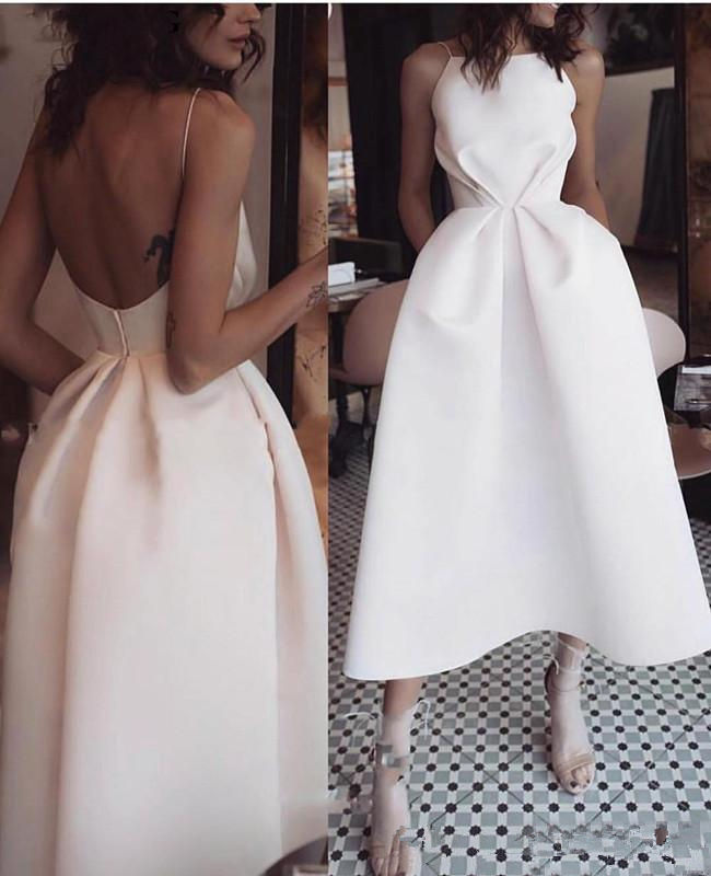 Ivory Short Cocktail Dresses 2019 Open Back Party Homecoming Dresses Ankle Length Sexy Prom Gown For Women Hot Vestidos De Festa