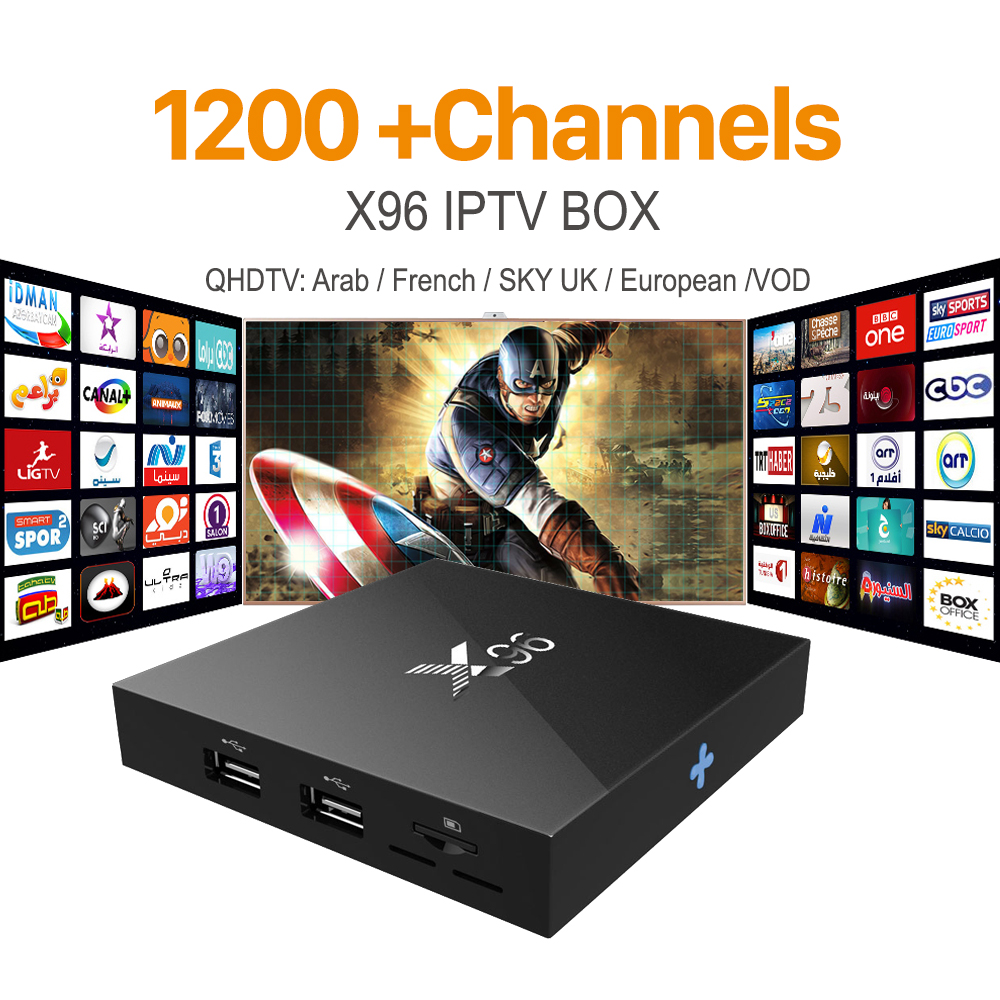ФОТО X96 Android 6.0 Smart IPTV Box 2G 16G S905X with 1200 Channels IT UK DE Europe Arabic TV Box Spain Smart Wifi Media Player