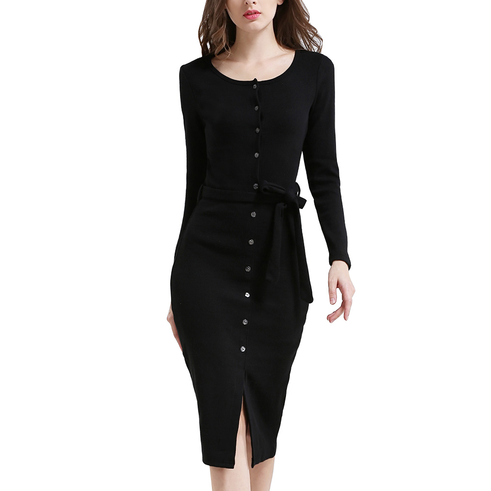 2018 Spring autumn Women Sexy Club Gray Women Sweater Dress Slim Bodycon Knitted Sweater Button Winter Party Oversized Sweater