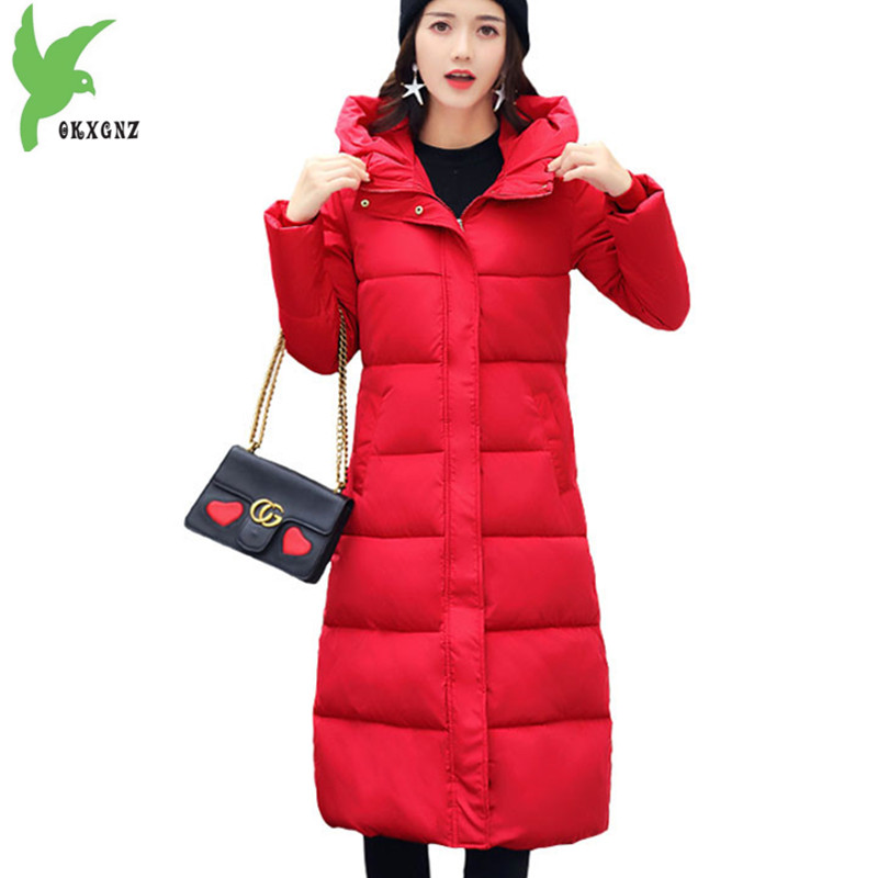 NEW Winter   Parkas   Women 2018 Cotton-padded jacket Thick Warm Hoodies Tops Plus size Students Coat Slim Female Long   Parkas   2142