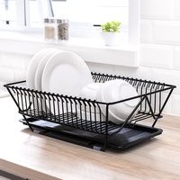 15 x 11.4 Kitchen Dish Rack with Drainboard, Fast Drying, Heavy Duty, (Black Red)