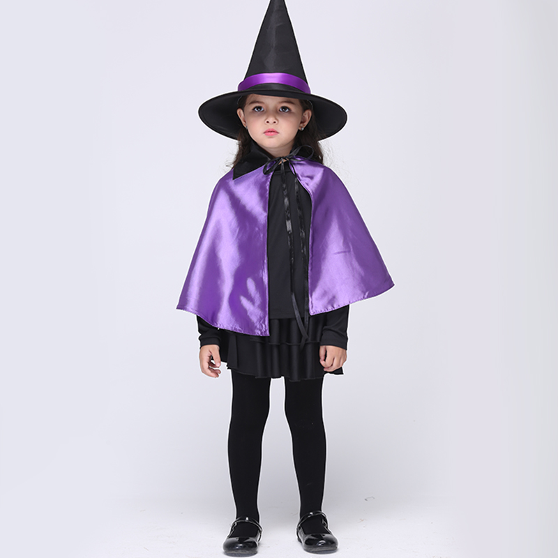 ФОТО Children Christmas/Halloween Outfits Dancing Dresses 2016 Children Fancy Purple Clothes Girl Kids Masquerade Witch Costume