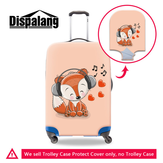 Dispalang 3d Fox Elastic Travel Luggage Covers Cute Cartoon Animals Print Stretch Suitcase Protective Cover For