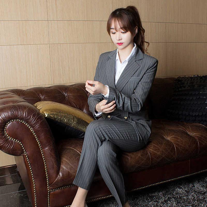 BGTEEVER/Деловые женские костюмы в полоску, двубортные тонкие брючные костюмы, Блейзер, пиджак и узкие брюки, офисные женские комплекты из 2 предметов