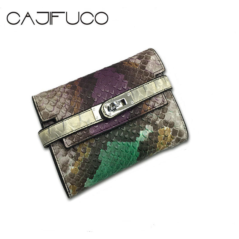 CAJIFUCO Fashion Snake Pattern Genuine Leather Short Wallet Trifold Lock Catch Credit Card Holder Wallet Coin Purses Porte Carte 100% real genuine authentic snake skin men s bifold python snake wallet credit card money cash holder and case black free ship