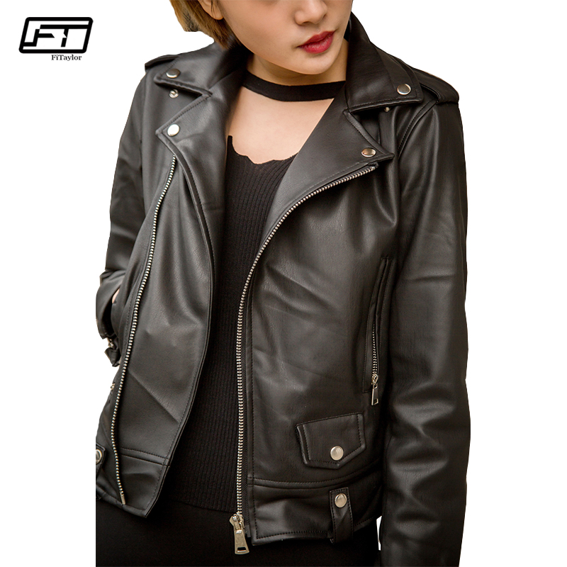Fitaylor Women Faux   Leather   Jacket Soft PU Biker Coat Slim Long Sleeve Black Punk Motor Outwear Spring Autumn Female Jackets