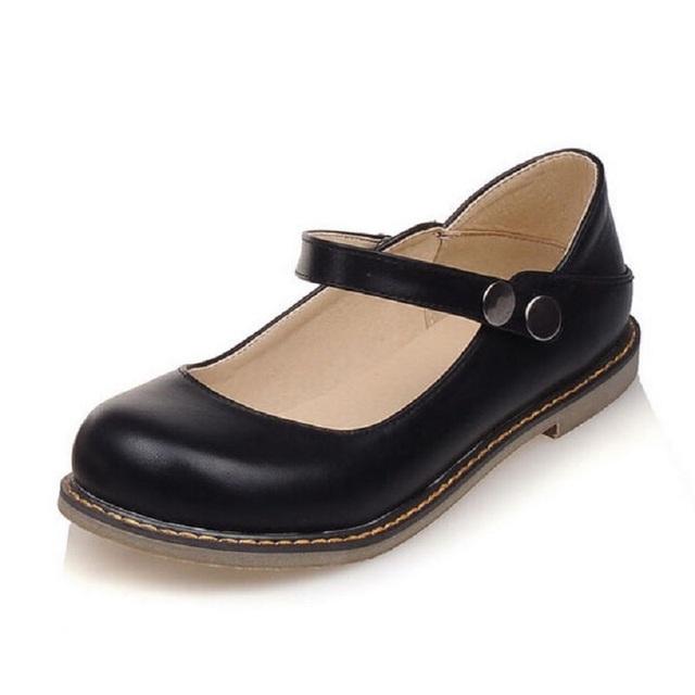 Nuevos Zapatos de La Muchacha de Dos Maneras zapatos Planos Cómodos Solos Zapatos Lindos de La Vendimia de Las Mujeres Mocasines Planos del Ballet de los Holgazanes de Las Mujeres de Mary Jane