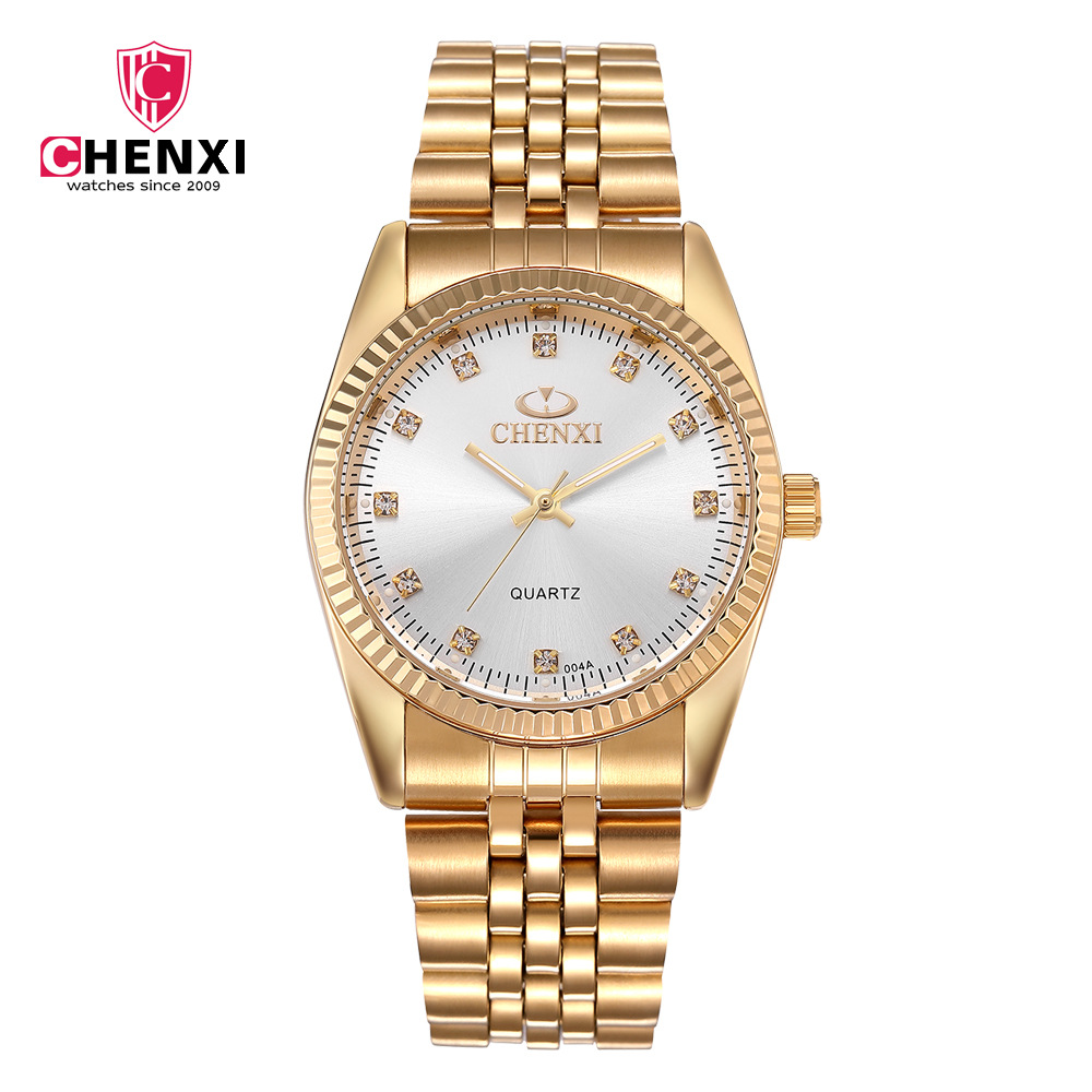 Chenxi Brand Luxury Golden Clock Gold Fashion Men Woman Lovers Watches Full Stainless Steel Quartz Wristwatches Wholesale 004a