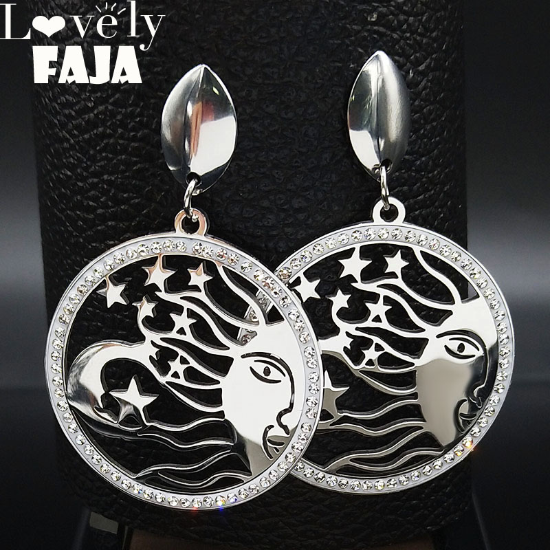 Sun Moon Stars Crystal Stainless Steel Earring Women Silver Color Witchcraft Stud Earrings Jewelry pendientes mujer moda E612757 in Stud Earrings from Jewelry Accessories